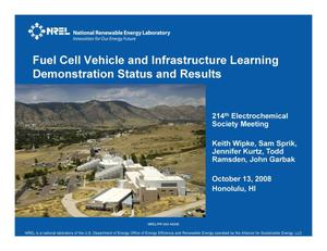 Primary view of object titled 'Fuel Cell Vehicle and Infrastructure Learning Demonstration Status and Results (Presentation)'.