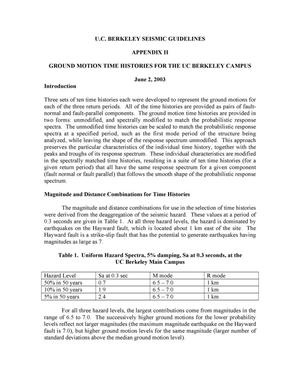 Primary view of object titled 'UC Berkeley Seismic Guidelines, Appendix II: Ground Motion TimeHistories for the UC Berkeley Campus'.