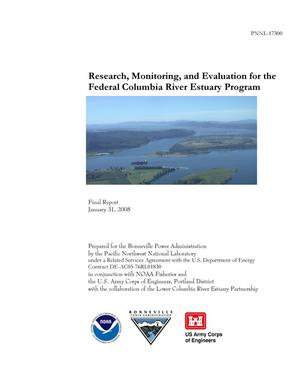 Primary view of object titled 'Research, Monitoring, and Evaluation for the Federal Columbia River Estuary Program'.