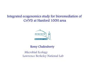 Primary view of object titled 'Integrated Ecogenomics Study for Bioremediation of Cr(VI) at Hanford 100H Area'.
