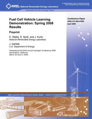 Primary view of object titled 'Fuel Cell Vehicle Learning Demonstration: Spring 2008 Results; Preprint'.