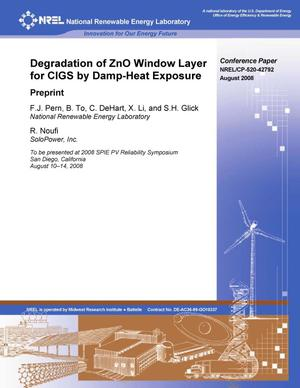 Primary view of object titled 'Degradation of ZnO Window Layer for CIGS by Damp-Heat Exposure: Preprint'.