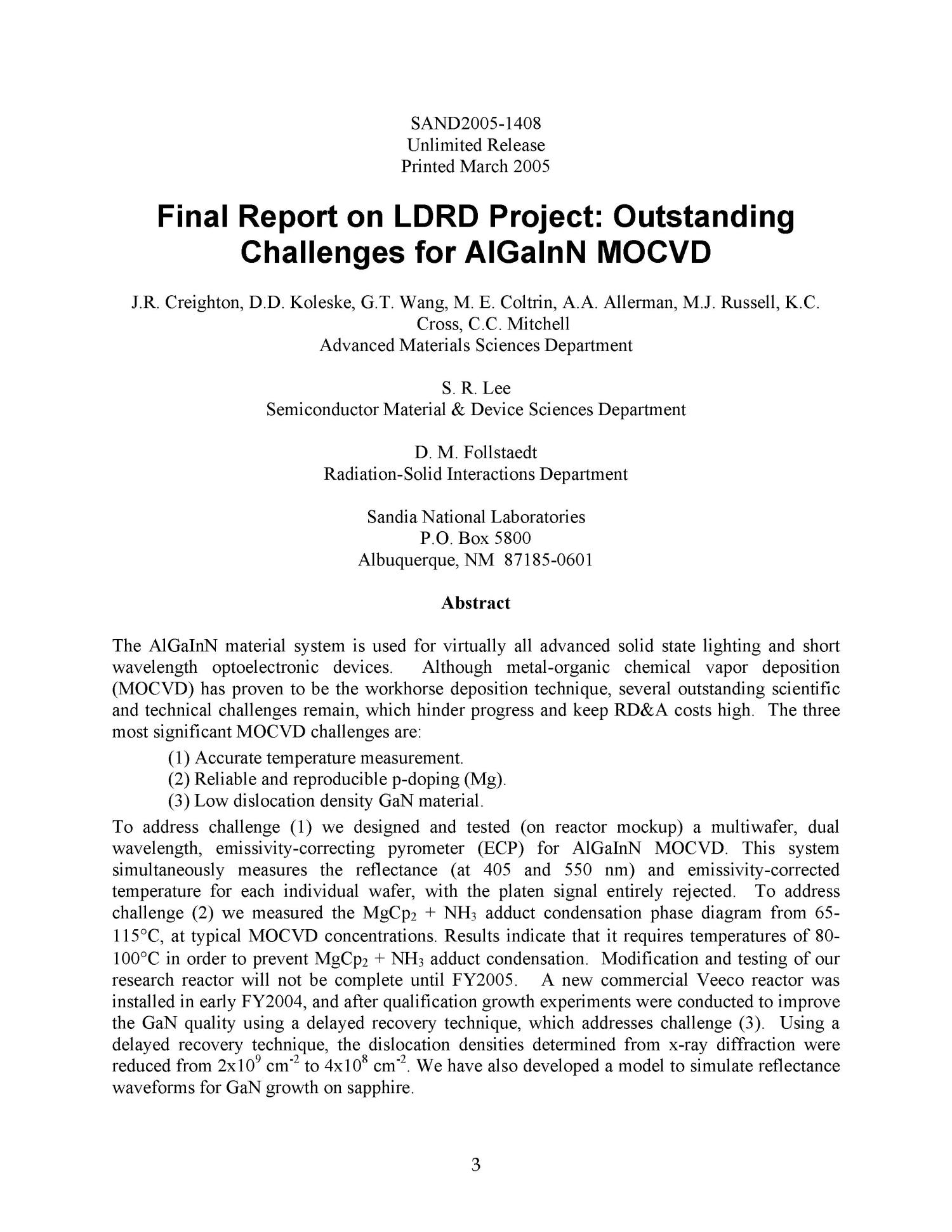 Final report on LDRD project : outstanding challenges for AlGaInN MOCVD.                                                                                                      [Sequence #]: 3 of 44