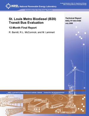 Primary view of object titled 'St. Louis Metro Biodiesel (B20) Transit Bus Evaluation: 12-Month Final Report'.
