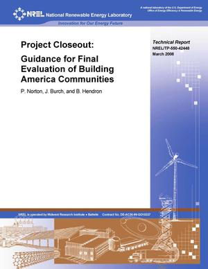 Primary view of object titled 'Project Closeout: Guidance for Final Evaluation of Building America Communities'.
