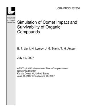 Primary view of object titled 'Simulation of Comet Impact and Survivability of Organic Compounds'.