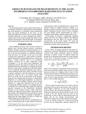 Primary view of object titled 'Absolute Bunch Length Measurements at the ALS by Incoherent Synchrotron Radiation Fluctuation Analysis'.