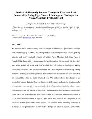Primary view of object titled 'Analysis of Thermally Induced Changes in Fractured Rock Permeability during Eight Years of Heating and Cooling at the Yucca Mountain Drift Scale Test'.