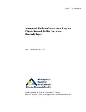 Primary view of object titled 'Atmospheric Radiation Measurement Program Climate Research Facility Operations Quarterly Report July 1 – September 30, 2008'.