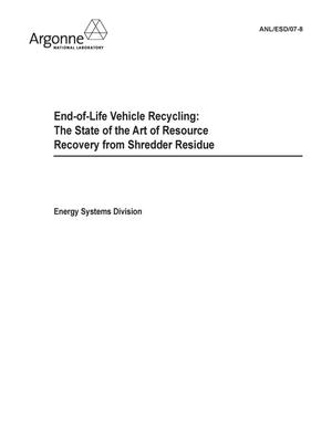 Primary view of object titled 'End-of-life vehicle recycling : state of the art of resource recovery from shredder residue.'.