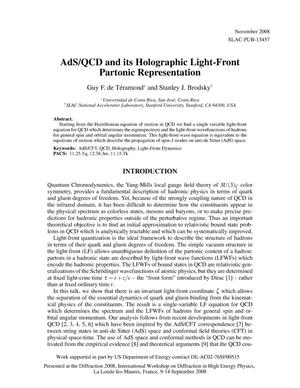 Primary view of object titled 'AdS/QCD and Its Holographic Light-Front Partonic Representation'.