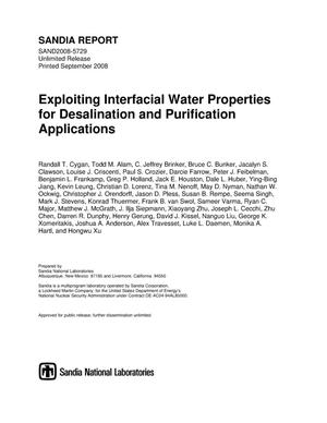 Primary view of object titled 'Exploiting interfacial water properties for desalination and purification applications.'.