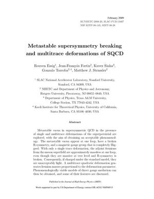 Primary view of object titled 'Metastable Supersymmetry Breaking and Multitrace Deformations of SQCD'.