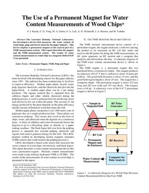 Primary view of object titled 'The use of a permanent magnet for water content measurements ofwood chips'.