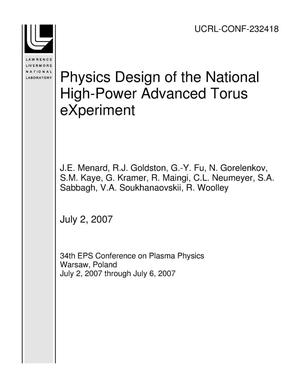 Primary view of object titled 'Physics Design of the National High-Power Advanced Torus eXperiment'.