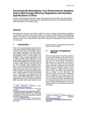 Primary view of object titled 'Environmental Stewardship: How Semiconductor Suppliers Help toMeet Energy-Efficiency Regulations and Voluntary Specifications inChina'.