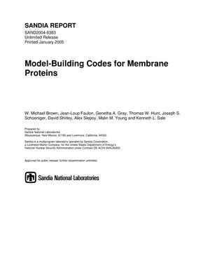 Primary view of object titled 'Model-building codes for membrane proteins.'.