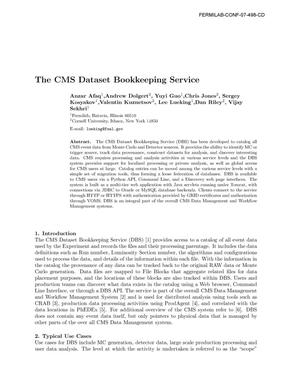 Primary view of object titled 'The CMS dataset bookkeeping service'.