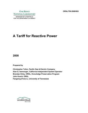 Primary view of object titled 'A Tariff for Reactive Power'.