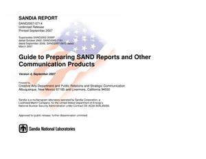 Primary view of object titled 'Guide to preparing SAND reports and other communication products : version 4.'.
