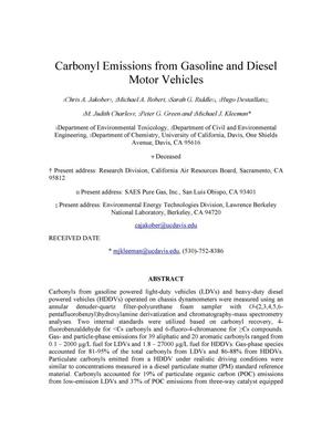 Primary view of object titled 'Carbonyl Emissions from Gasoline and Diesel Motor Vehicles'.