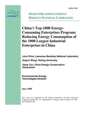 Primary view of object titled 'China's Top-1000 Energy-Consuming Enterprises Program:Reducing Energy Consumption of the 1000 Largest Industrial Enterprises in China'.