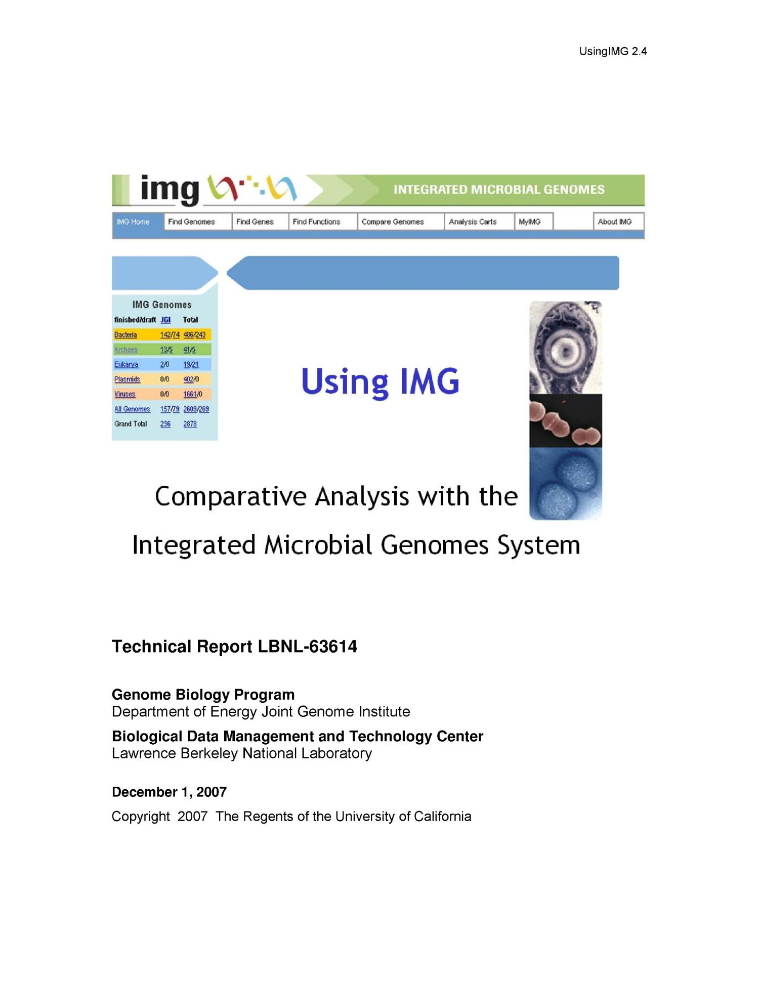 Using IMG: Comparative Analysis with the Integrated Microbial Genomes System                                                                                                      [Sequence #]: 1 of 57