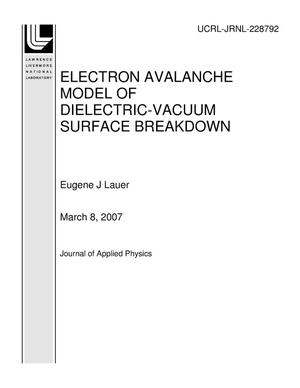 Primary view of object titled 'ELECTRON AVALANCHE MODEL OF DIELECTRIC-VACUUM SURFACE BREAKDOWN'.