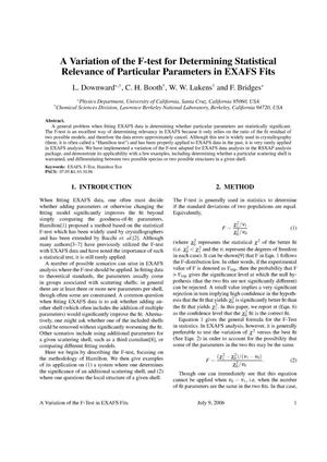 Primary view of object titled 'A Variation of the F-Test for Determining Statistical Relevance ofParticular Parameters in EXAFS Fits'.