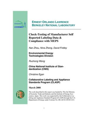 Primary view of object titled 'Check-Testing of Manufacturer Self Reported Labeling Data& Compliance with MEPS'.