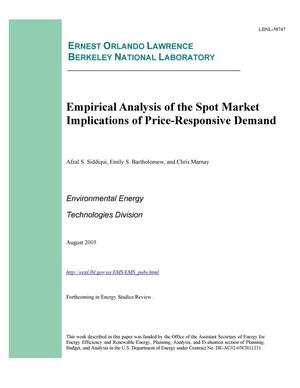 Primary view of object titled 'Empirical Analysis of the Spot Market Implications ofPrice-Responsive Demand'.