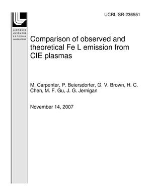 Primary view of object titled 'Comparison of observed and theoretical Fe L emission from CIE plasmas'.