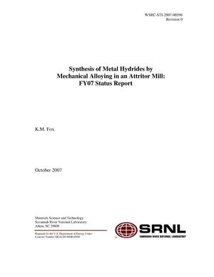 Primary view of object titled 'SYNTHESIS OF METAL HYDRIDES BY MECHANICAL ALLOYING IN AN ATTRITOR MILL: FY07 STATUS REPORT'.