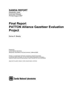 Primary view of object titled 'Final report : PATTON Alliance gazetteer evaluation project.'.