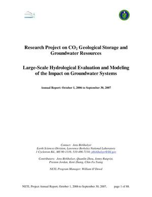 Primary view of object titled 'Research project on CO2 geological storage and groundwaterresources: Large-scale hydrological evaluation and modeling of impact ongroundwater systems'.