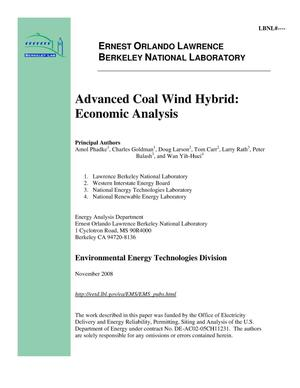 Primary view of object titled 'Advanced Coal Wind Hybrid: Economic Analysis'.