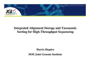 Primary view of object titled 'Integrated Alignment Storage and Taxonomic Sorting for High-Throughput Sequencing'.