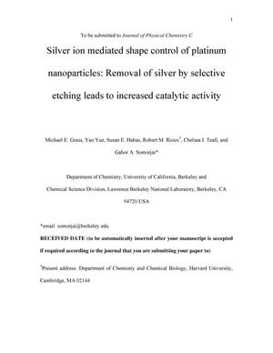 Primary view of object titled 'Silver ion mediated shape control of platinum nanoparticles: Removal of silver by selective etching leads to increased catalytic activity'.