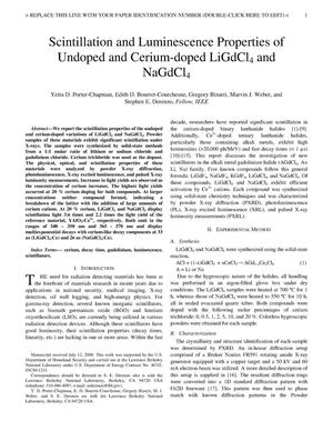 Primary view of object titled 'Scintillation and Luminescence Properties of Undoped and Cerium-doped LiGdCl4 and NaGdCl4'.