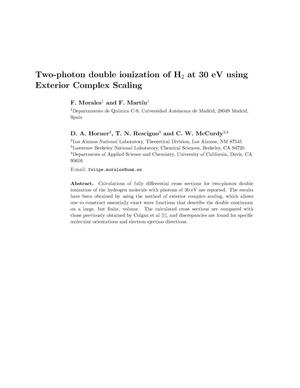 Primary view of object titled 'Two-photon double ionization of H2 at 30 eV using Exterior Complex Scaling'.