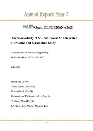 Primary view of object titled 'Thermoelasticity of SSP Materials: An Integrated Ultrasonic and X-radiation Study'.