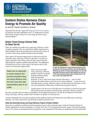 Primary view of object titled 'Eastern States Harness Clean Energy to Promote Air Quality'.