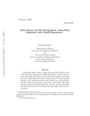 Primary view of object titled 'Field Theory On the World Sheet: Mean Field Expansion And Cutoff Dependence'.