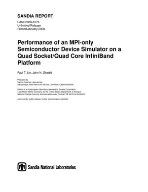 Primary view of object titled 'Performance of an MPI-only semiconductor device simulator on a quad socket/quad core InfiniBand platform.'.