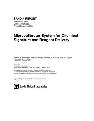 Primary view of object titled 'Microcalibrator system for chemical signature and reagent delivery.'.