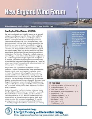 Primary view of object titled 'New England Wind Forum: A Wind Powering America Project, Volume 1, Issue 4 -- May 2008 (Newsletter)'.