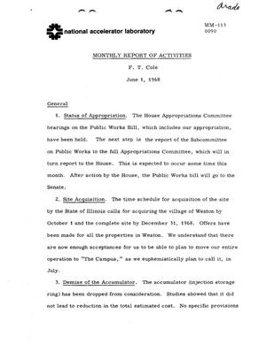 Primary view of object titled 'Monthly report of activities: JUNE 1, 1969'.