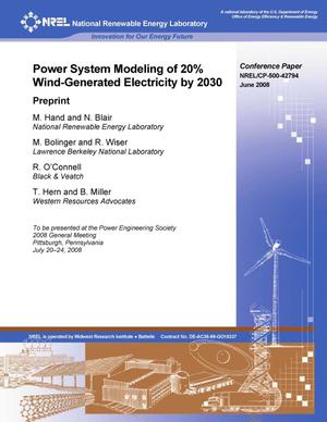 Primary view of object titled 'Power System Modeling of 20percent Wind-Generated Electricity by 2030'.