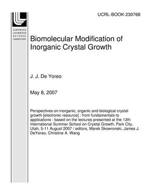 Primary view of object titled 'Biomolecular Modification of Inorganic Crystal Growth'.