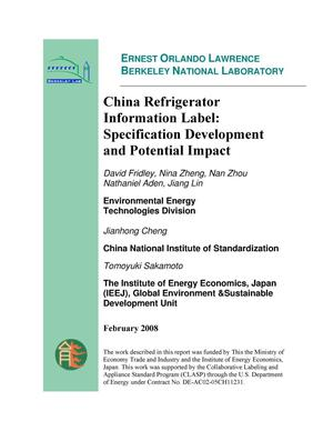 Primary view of object titled 'China Refrigerator Information Label: Specification Development and Potential Impact'.